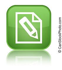 Pencil in page icon special soft green square button