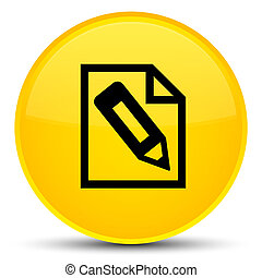 Pencil in page icon special yellow round button
