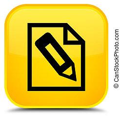 Pencil in page icon special yellow square button
