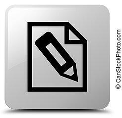 Pencil in page icon white square button