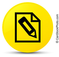 Pencil in page icon yellow round button