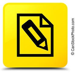 Pencil in page icon yellow square button
