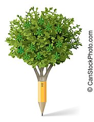 Pencil in the form of a tree