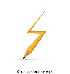 Pencil in the lightning shape. Vector illustration....