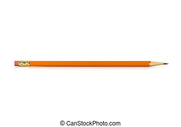 Sharp Pencil with reflection isolated on a white