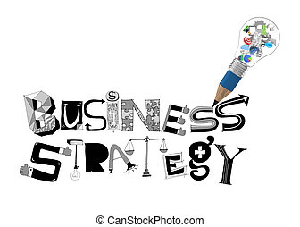 pencil lightbulb 3d and design word BUSINESS STRATEGY as concept