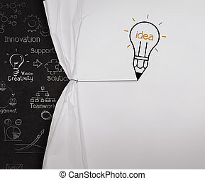 pencil lightbulb draw rope open wrinkled paper show blank black board as concept