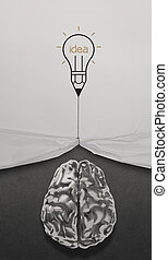 pencil lightbulb draw rope open wrinkled paper show metal brain 3d with business strategy icons as concept