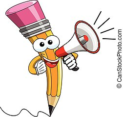 Pencil Mascot cartoon speaking with megaphone isolated