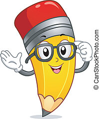 Pencil Mascot - Mascot Illustration of a Pencil Wearing Nerd...