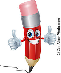 Pencil mascot man - Funny pencil mascot man giving a double ...