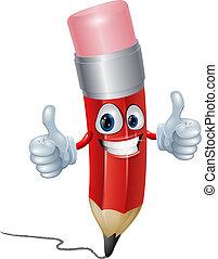 Pencil mascot man - Funny pencil mascot man giving a double...