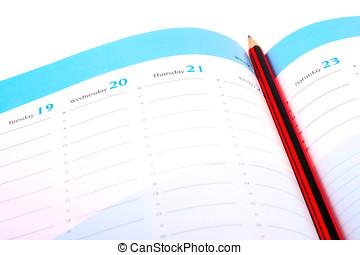 pencil on a calendar