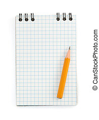 pencil on checked notebook on white