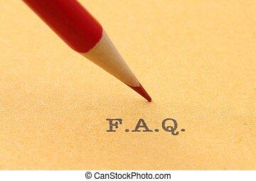 Pencil on F.A.Q.