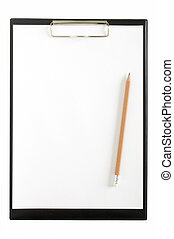 pencil on the clipboard with page