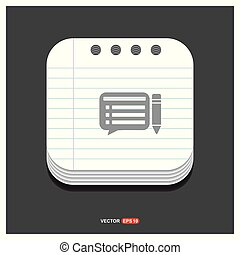 Pencil Paper Icon Gray icon on Notepad Style template Vector EPS 10 Free Icon