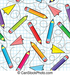 pencil pattern - seamless pattern with pencils and paper...