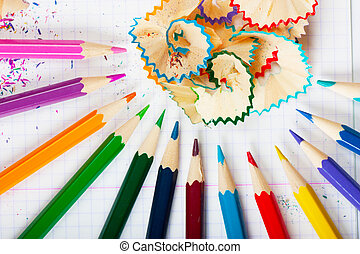 Macro view of colorful pencils and peels