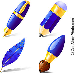 Pencil, pen, brush, feather. Isolated on white. EPS 8, AI, ...
