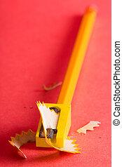 Pencil, pencil sharpener and shavings