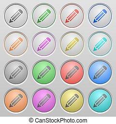 Pencil plastic sunk buttons