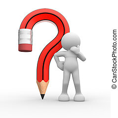 Pencil question mark - 3d people - human character, person...