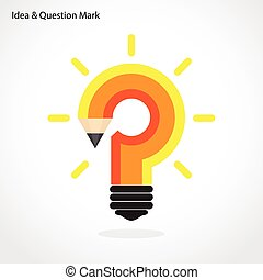 Pencil question mark and light bulb on background. Education concept.
