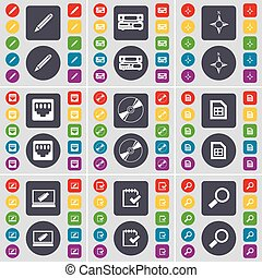 Pencil, Record-player, Compass, LAN socket, Disk, File, Laptop, Survey, Magnifying glass icon symbol. A large set of flat, colored buttons for your design. Vector