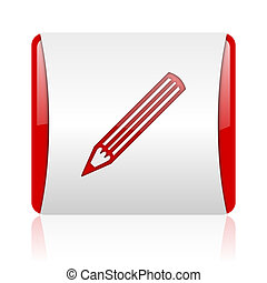 pencil red and white square web glossy icon
