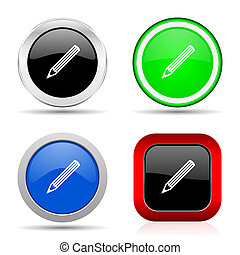Pencil red, blue, green and black web glossy icon set in 4 options
