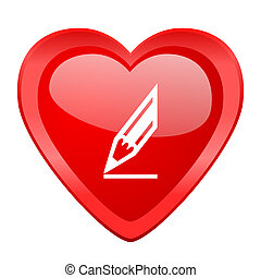 pencil red heart valentine glossy web icon