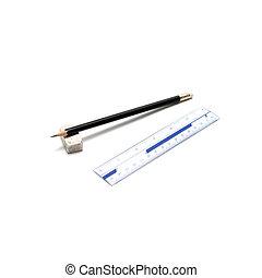 pencil ruler and eraser