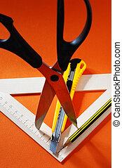 Pencil, ruler, scissors