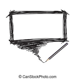 Pencil scribble with word bubble - Illustration of a pencil...