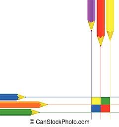pencil set color vector