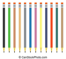 Pencil set in different colors, vector illustration