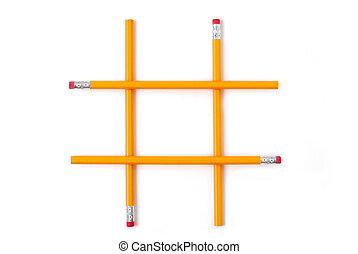 pencils stacked like tic tac toe