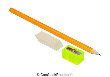 Pencil, sharpener and eraser