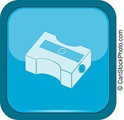 Pencil sharpener icon on a blue button