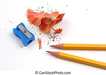 Pair of pencils and a sharpener over a white background depicting the situation of sharpening pencils and it's debris.