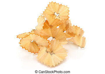 Pencil shavings close-up on a white background