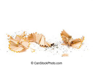 Pencil shavings on a white background