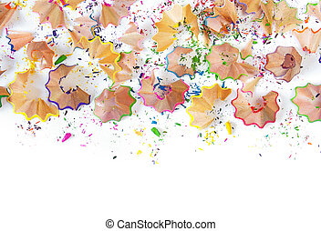 pencil shavings - Colorful pencil shavings isolated in white...