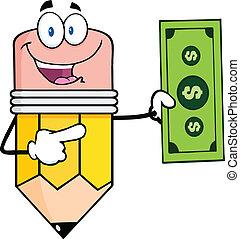 Pencil  Showing A Dollar Bill