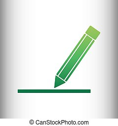 Pencil sign. Green gradient icon