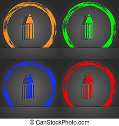 Pencil sign icon. Edit content button. Fashionable modern style. In the orange, green, blue, red design.