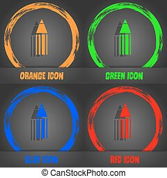 Pencil sign icon. Edit content button. Fashionable modern style. In the orange, green, blue, red design. Vector