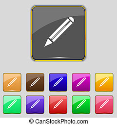 Pencil sign icon. Edit content button. Set colur buttons.
