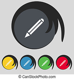Pencil sign icon. Edit content button. Set colur buttons. Vector